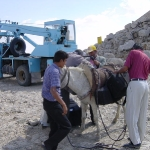 Delivering equipment by mule