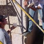 Testing limestone statue